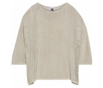 Metallic Open-knit Sweater Beige