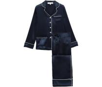 Woman Coco Appliquéd Silk-charmeuse Pajama Set Midnight Blue