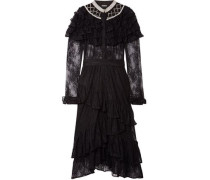 Tiered Embellished Lace Midi Dress Black