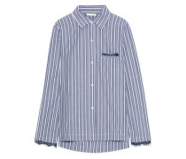 Lace-trimmed Striped Cotton-poplin Pajama Shirt Blue