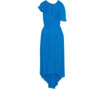 Milly Cutout Plissé-chiffon Midi Dress Cobalt Blue