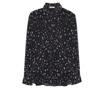 Woman Flocked Chiffon Shirt Black