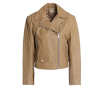 Tie-back Leather Biker Jacket Sand