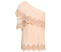 One-shoulder Guipure Lace-trimmed Pleated Crepe Top Cream