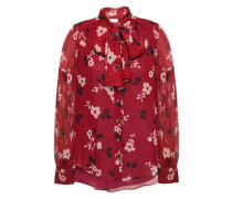 Pussy-bow Floral-print Silk-chiffon Blouse Claret