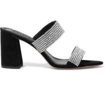 Woman Laleah Crystal-embellished Suede Mules Black