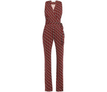 Wrap-effect Printed Silk-jersey Jumpsuit Red