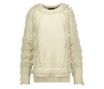 Karli Fringed Wool, Silk And Cashmere-blend Sweater Ecru