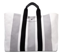 Leather-trimmed Striped Canvas Tote Stone Size --