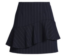 Layered striped twill mini skirt