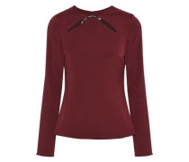 Violetta Cutout Ring-embellished Stretch-crepe Top Burgundy