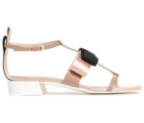 Bow-embellished Leather, Grosgrain And Satin Sandals Pastel Pink