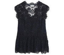 Bobby cotton-blend corded lace peplum top