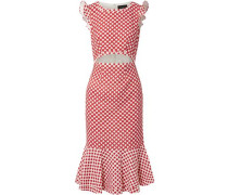 Cutout Polka-dot Stretch-crepe Dress Red