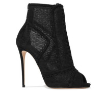 Embroidered mesh and suede peep-toe ankle boots