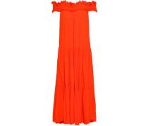 Off-the-shoulder Frayed Crepe Midi Dress Bright Orange Size 1