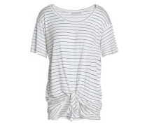 Tie-front striped modal and silk-blend jersey T-shirt