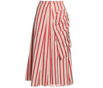 Wrap-effect striped woven midi skirt