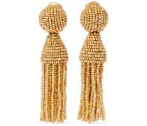 Gold-tone Beaded Tassel Clip Earrings Gold Size --