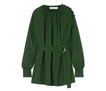 Belted Button-embellished Gathered Twill Blouse Dark Green