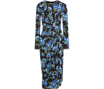 Woman Gathered Floral-print Stretch-cady Dress Black