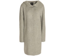 Hooded brushed wool and cashmere-blend coat