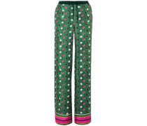 Macaw Polka-dot Silk-twill Wide-leg Pants Green Size 12