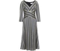 Metallic Striped Jacquard Midi Dress Navy