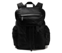 Leather-trimmed satin-twill backpack