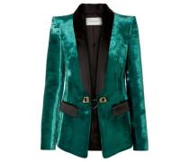 Embellished Satin-trimmed Velvet Blazer Jade