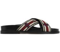 Embellished Woven Slides Beige