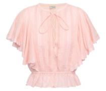Beaux Lace-trimmed Pintucked Cotton-plumetis Blouse Blush