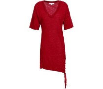 Lace-up Slub Linen-jersey Mini Dress Red