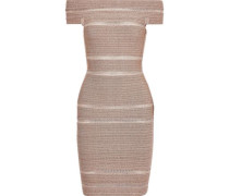 Woman Off-the-shoulder Metallic Bandage Mini Dress Blush