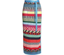 Evaris Striped Jacquard-knit Maxi Wrap Skirt Multicolor