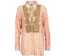 Lamu sequin-embellished printed cotton-blend gauze shirt