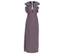 Woman Ruffled Jacquard Maxi Dress Grape