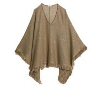 Fringe-trimmed sequined linen and silk-blend poncho