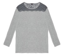 Lace-trimmed jersey pajama top
