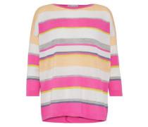 Split-back Striped Cashmere Top Pink