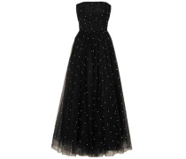 Tiered Velvet-trimmed Glitter-embellished Tulle Midi Dress Black Size 14
