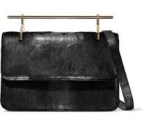 La Fleur Du Mal Leather And Calf Hair Clutch Gunmetal Size --
