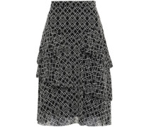 Woman Tiered Printed Silk-georgette Skirt Black