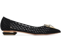 Embellished suede and mesh point-toe flats