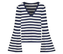 Fluted Striped Stretch-knit Sweater Navy
