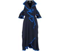 Bryce Cold-shoulder Ruffled Stretch-silk Midi Dress Navy