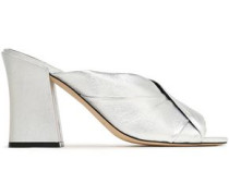 Pramod pleated patent-leather mules