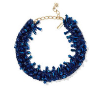 Gold-tone, Bead And Satin Necklace Storm Blue Size --