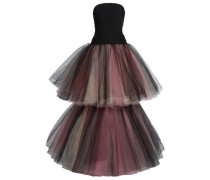 Two-tone tiered duchesse-satin and tulle gown