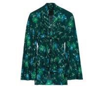 Printed Fil Coupé Silk-blend Kimono Forest Green